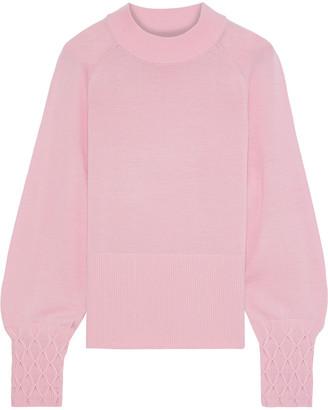Elie Tahari Skylar Smocked Merino Wool Sweater