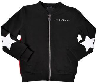 John Richmond Zip-up Cotton Sweatshirt W/ Star Patches