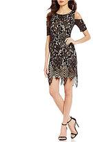 Jessica Howard Cold-Shoulder Lace Shift Dress