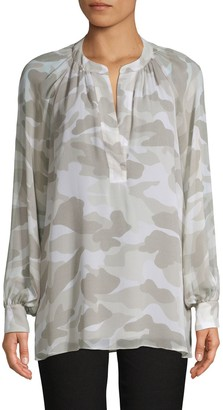Joie Camo-Print Silk Tunic