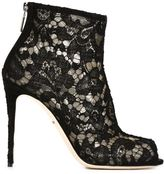 Dolce & Gabbana floral lace booties - women - Cotton/Leather/Polyamide/Viscose - 37