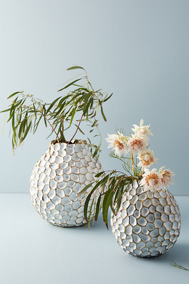 Anthropologie Honeycomb Vase By in Gold Size L