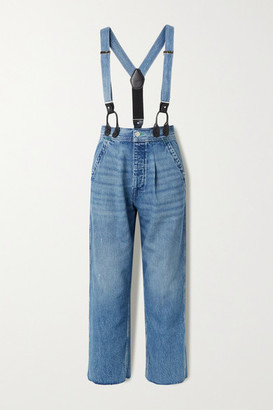 RE/DONE + Hikari Mori High-rise Wide-leg Jeans With Braces - Mid denim