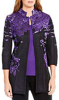 Ming Wang Pattern 3/4 Sleeve Long Jacket