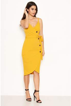 AX Paris Button Front Dress - Yellow