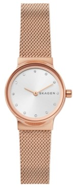 Skagen Women's Freja Rose Gold-Tone Stainless Steel Mesh Bracelet Watch 26mm