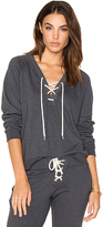 Monrow Lace Up Sweatshirt in Gray. - size L (also in M,XS)