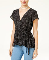 Lily Black Juniors' Polka-Dot Wrap Top, Created for Macy's