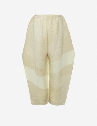Issey Miyake Sashiko high-rise wide knitted trousers