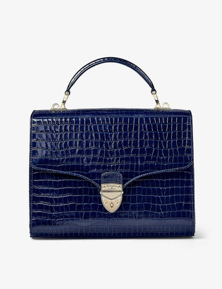 Aspinal of London Mayfair mini crocodile-embossed leather handbag