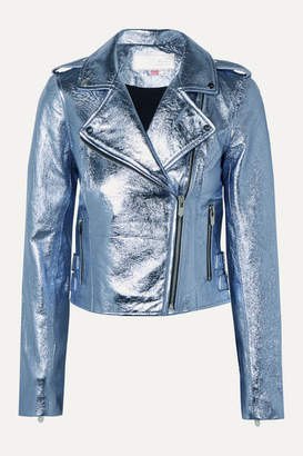The Mighty Company - The Lecce Metallic Crinkled-leather Biker Jacket - Blue
