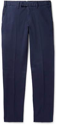 Ermenegildo Zegna Navy Slim-Fit Garment-Dyed Cotton-Blend Trousers