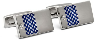 Hart Schaffner Marx Rhodium Plated Brass Geo Enamel Design Rectangle Cuff Links