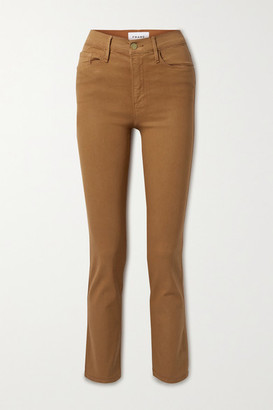 Frame Le Sylvie Cropped Coated High-rise Straight-leg Jeans - Light brown
