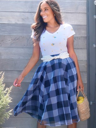 New York & Co. Gingham Tulle Skirt - 7th Avenue