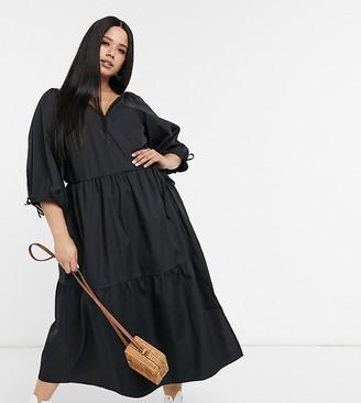 ASOS DESIGN Curve cotton poplin smock wrap midi dress in black
