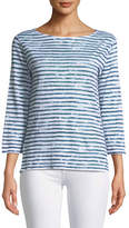 Majestic Paris for Neiman Marcus 3/4-Sleeve Dyed-Stripe Linen T-Shirt