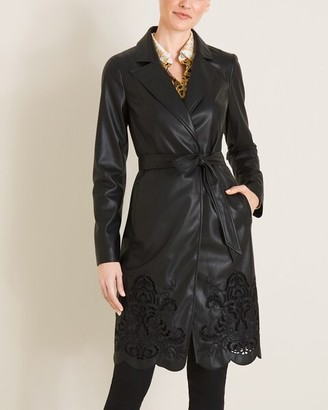 Chico's Faux-Leather Cutwork Trench Coat