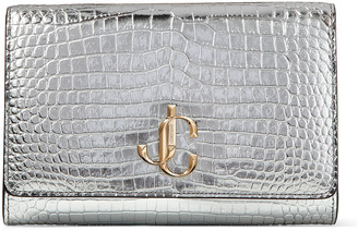 Jimmy Choo VARENNE CLUTCH Silver Croc-Embossed Leather Clutch Bag with JC Emblem
