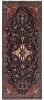 "Ecarpetgallery One-of-a-Kind Hamadan Hand-Knotted Runner 3'8"" x 9'9"" Wool Dark Navy/Gray Area Rug"