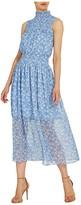ML Monique Lhuillier Sleeveless Floral Printed Midi Dress w/ Smocking (White/Cornflower Combo) Women's Dress