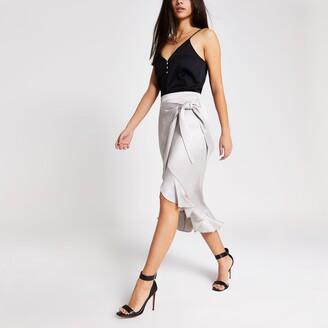 River Island Womens Silver wrap frill midi skirt