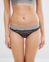 Glamorous Lace And Stripe Band Brief