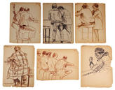 STUDY Billy Cotton Charcoal Study, Drinkers, Set of 6