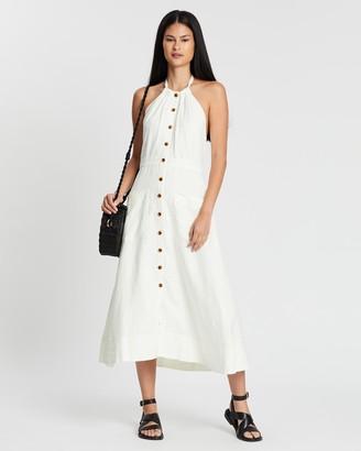Whistles Ada Linen Halter Dress