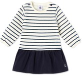 Petit Bateau Baby girls dual material dress