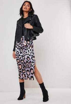 Missguided Lilac Leopard Print Satin Slip Midi Skirt