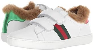 Gucci Kids New Ace Faux Fur Sneaker (Little Kid) (Green/White) Kids Shoes