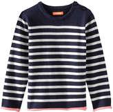 Joe Fresh Toddler Girls' Stripe Crew Neck Sweater, Navy (Size 3)
