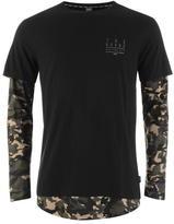 Fabric Long Sleeve Panel T Shirt Mens