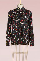 Marc Jacobs Painted Flower Silk Jacquard Tie Neck Long Sleeve Blouse