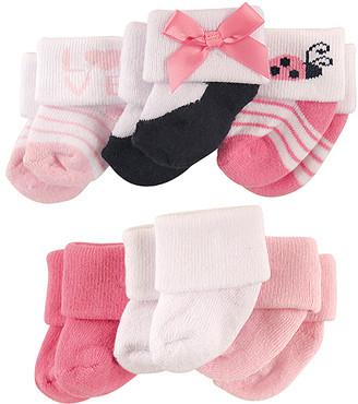 Luvable Friends Girls' Socks Girl - Pink Ladybug Terry Six-Pair Socks Set - Infant