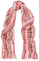Missoni Fringed Crochet-knit Scarf - Pink