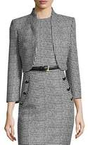 Michael Kors Wool Jacquard Houndstooth Bolero Jacket, Black/White