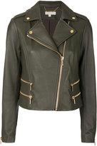 MICHAEL Michael Kors leather biker jacket - women - Lamb Skin/Polyester/Spandex/Elastane - S