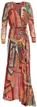 Etro Mosaic Tile-Print High-Low Gown