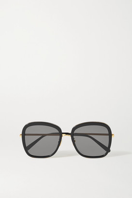 Stella McCartney Oversized Square-frame Acetate And Gold-tone Sunglasses - Black