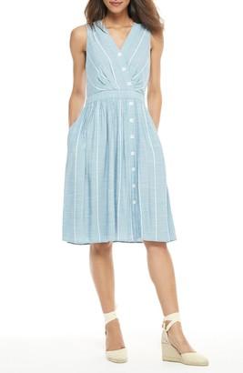 Gal Meets Glam Jill Stripe Button Up Dress (Regular & Plus Size)