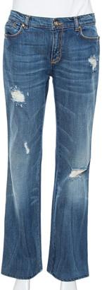 Roberto Cavalli Blue Distressed Denim Logo Embellished Jeans L