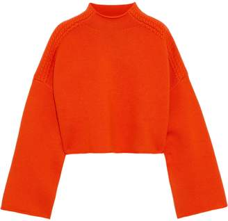 J.W.Anderson Cropped Appliqued Wool And Cashmere-blend Sweater