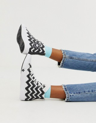 Converse black and white Zig Zag Chuck Taylor Hi All Star leather voltage trainers