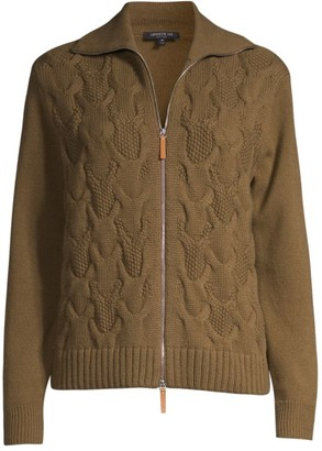 Lafayette 148 New York Cable-Knit Cashmere Zip Cardigan