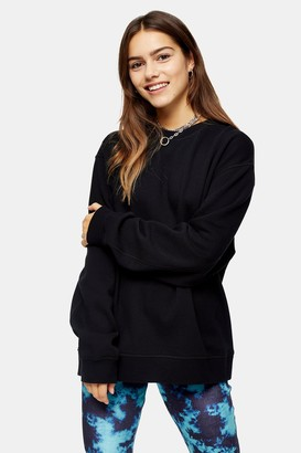 Topshop Womens Petite Black Flatlock Oversized Sweatshirt - Black