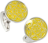 Jan Leslie Florentine Enamel Cuff Links, Yellow