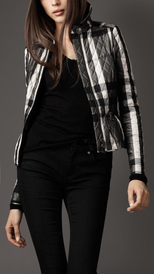 Burberry Check Quilted Peplum Jacket