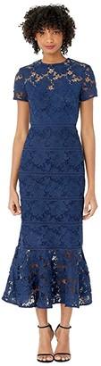 ML Monique Lhuillier Short Sleeve Lace Midi Dress (Navy) Women's Dress